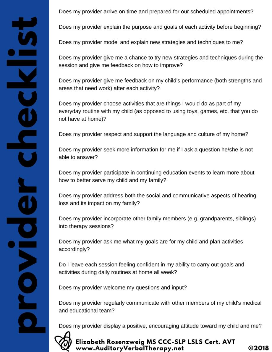provider checklist
